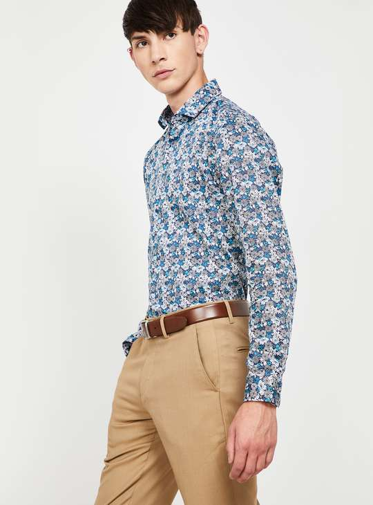 CODE Floral Print Full Sleeves Slim Fit Shirt