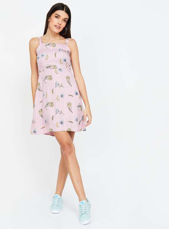 GINGER Floral Print Sleeveless Fit & Flare Dress