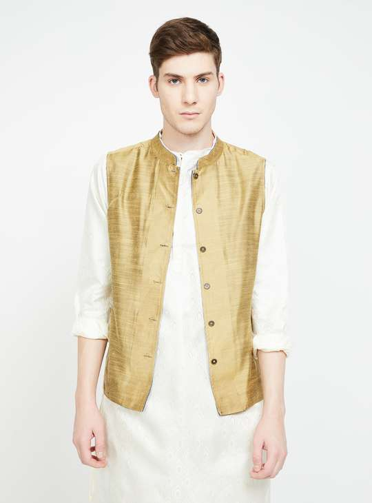 MELANGE Patterned Reversible Band Collar Jacket