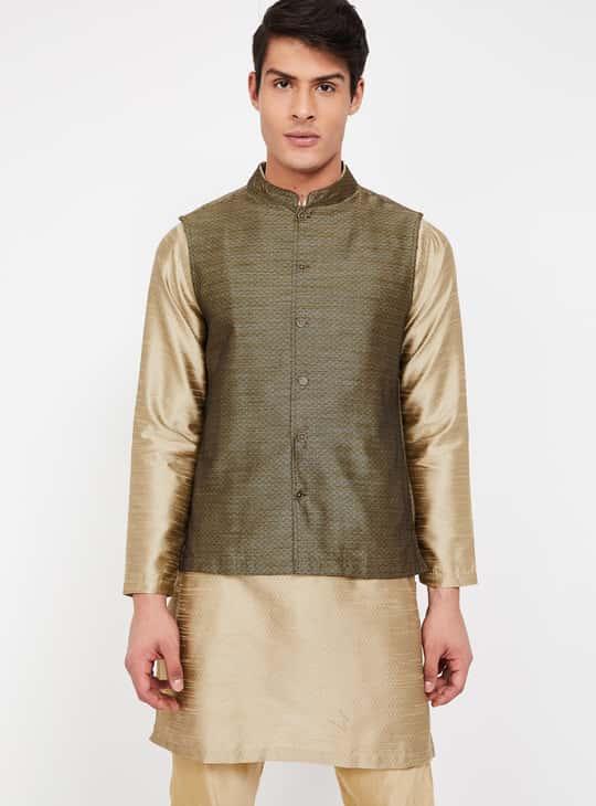 MELANGE Textured Buttoned Front Waistcoat
