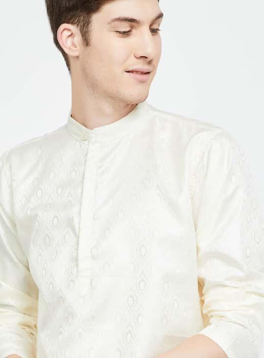 MELANGE Textured Band Collar Kurta
