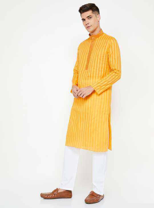 MANYAVAR Striped Band Collar Kurta with Churidars