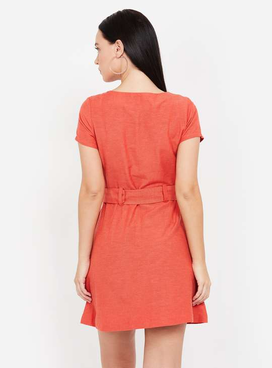 GINGER Solid Cap Sleeves A-line Dress