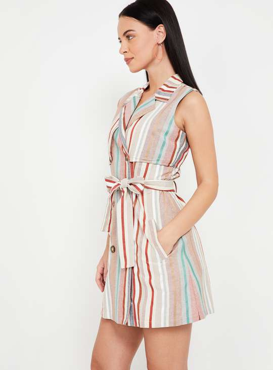 GINGER Striped Lapel Collared Dress with Front-Knot Styling