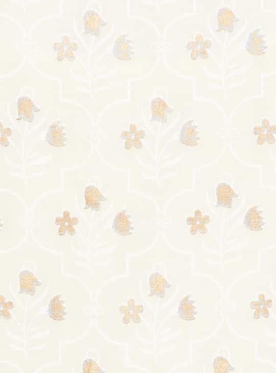 MELANGE Floral Print Kurta with Tie-Up Shrug