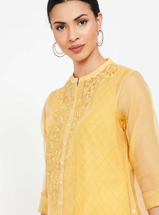 MELANGE Checked Kurta with Zari Embroidered Overlay