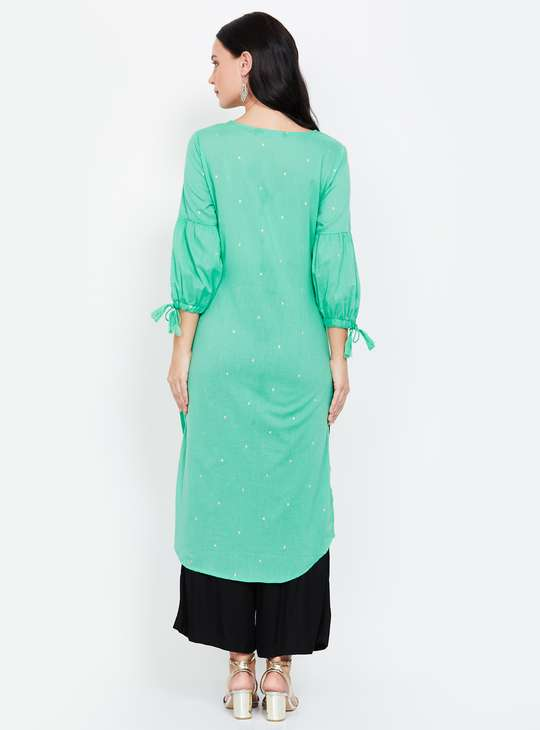 MELANGE Embroidered Straight Kurta with Tie-Up Sleeves