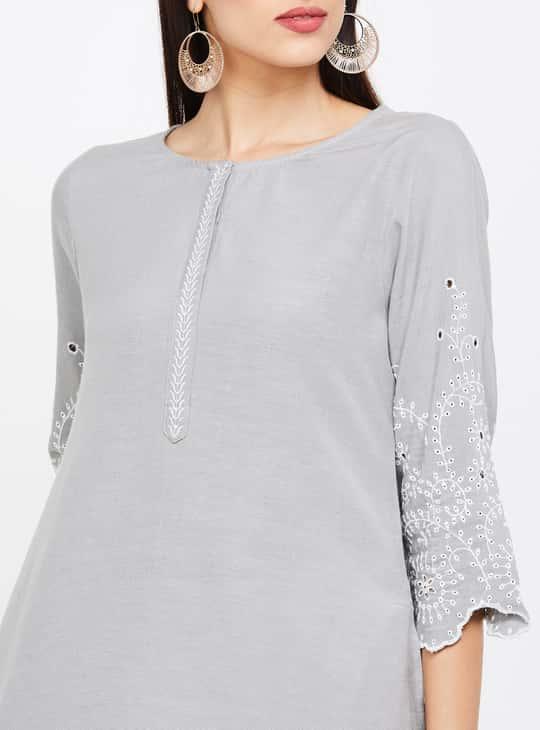 MELANGE Embroidered Three-Quarter Sleeves Kurta