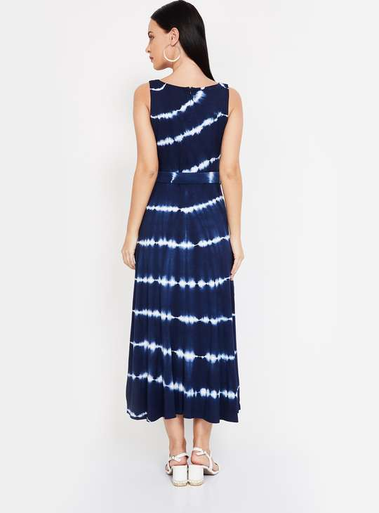 CODE Tie-Dye Sleeveless Midi Dress with Detachable Belt