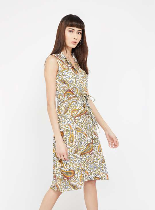 CODE Paisley Print Sleeveless A-line Dress