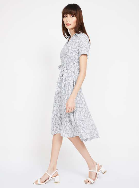 CODE Printed Shirt Dress with Open Collar