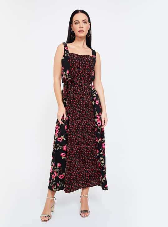 CODE Floral Print Sleeveless Midi Dress