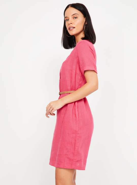 BOSSINI Solid Linen T-shirt Dress with Detachable Belt