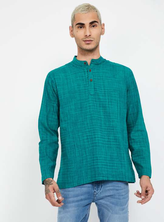 MELANGE Textured Band Collar Shirt Kurta