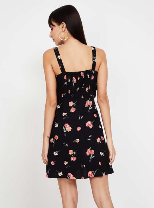 GINGER Floral Print Sleeveless Skater Dress