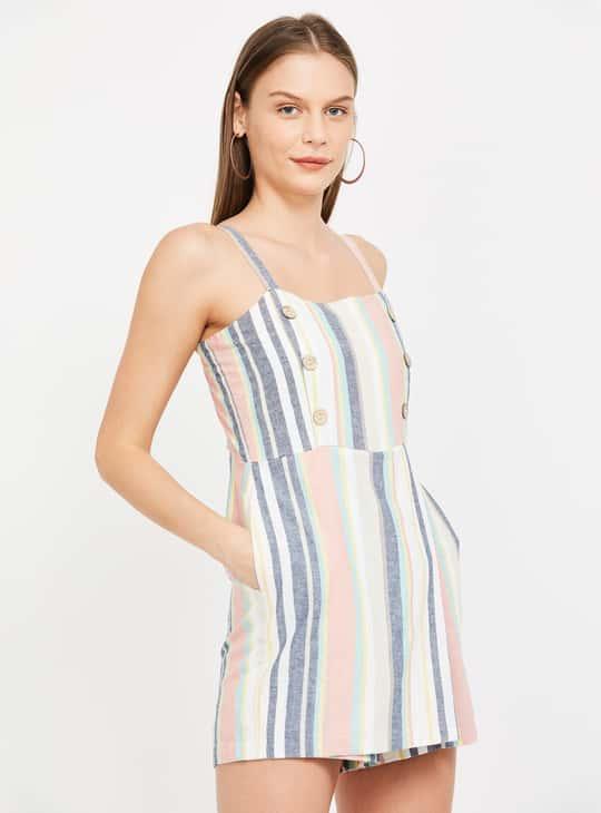 GINGER Women Striped Sleeveless Skater Dress