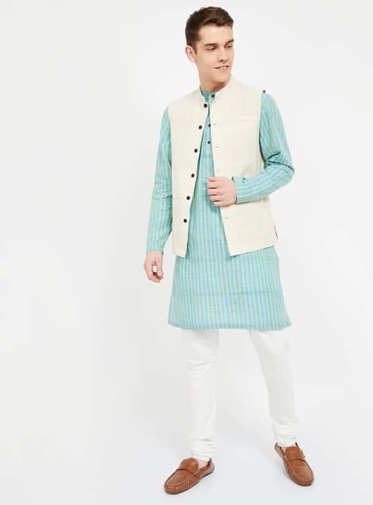 MELANGE Checked Sleeveless Ethnic Jacket