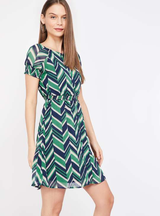 BOSSINI Women Chevron Pattern A-line Dress