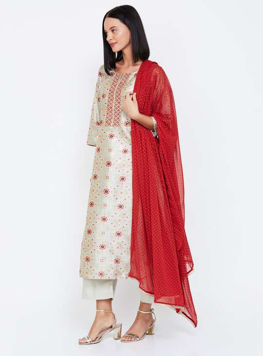 MELANGE Printed Straight Kurta with Palazzo Pants & Dupatta