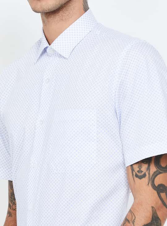LOUIS PHILIPPE Printed Short Sleeves Slim Fit Formal Shirt