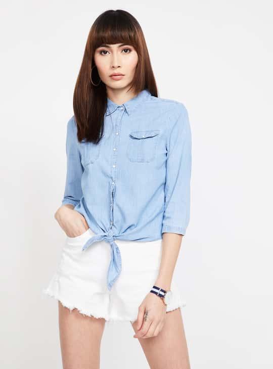 KRAUS Solid Regular Fit Denim Shirt