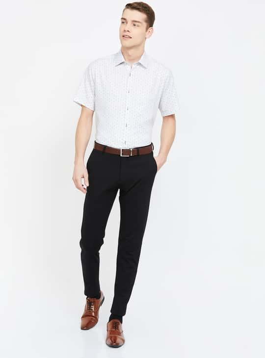 VAN HEUSEN Printed Custom Fit Formal Shirt with Short Sleeves