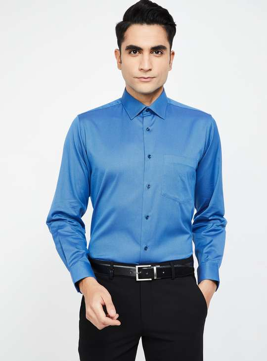 VAN HEUSEN Textured Full Sleeves Regular Fit Shirt