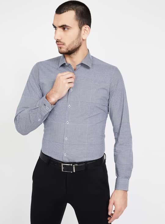 VAN HEUSEN Checked Full Sleeves Slim Fit Formal Shirt