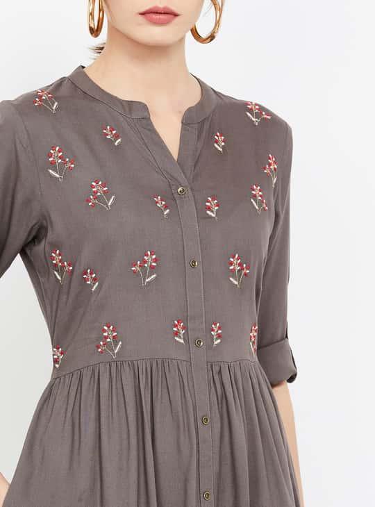 MELANGE Floral Embroidery A-line Kurta