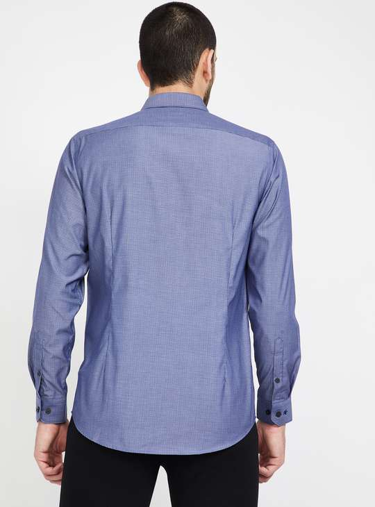 LOUIS PHILIPPE Textured Full Sleeves Slim Fit Formal Shirt