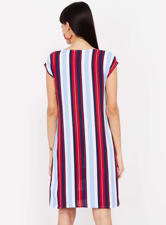 MS. TAKEN Striped Cap Sleeves A-line Dress