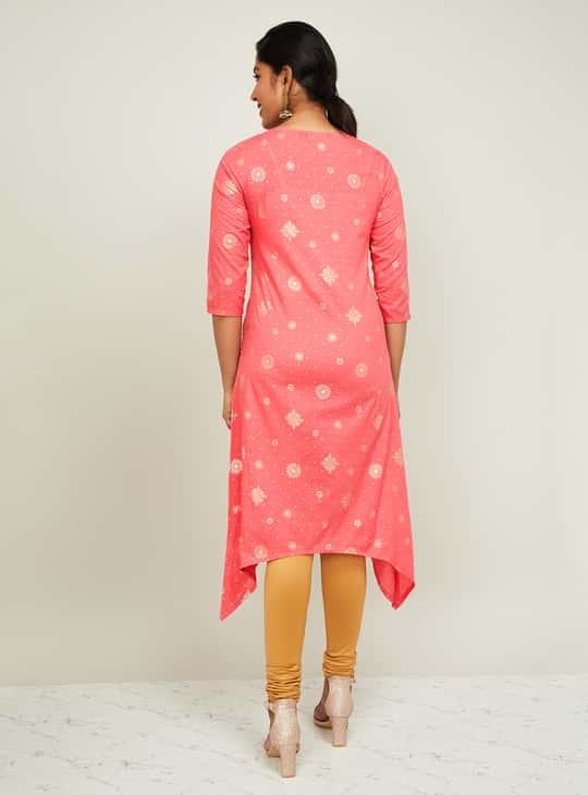 MELANGE Women Printed Flared Kurta with Dipped Hems