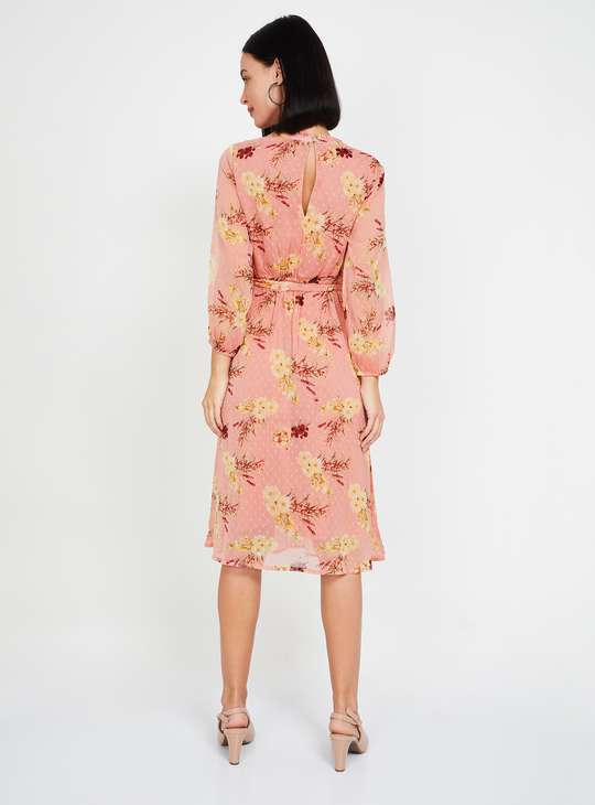 MS.TAKEN Women Floral Print Dobby A-line Dress with Bishop Sleeves