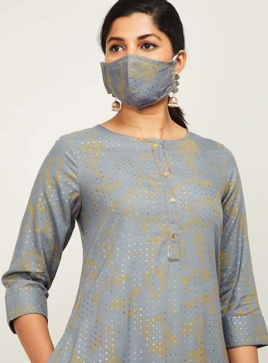 MELANGE Women Printed A-line Kurta with Mask