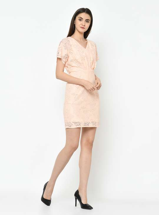 LATIN QUARTERS Women Lace Detail Short Sleeves A-line Dress