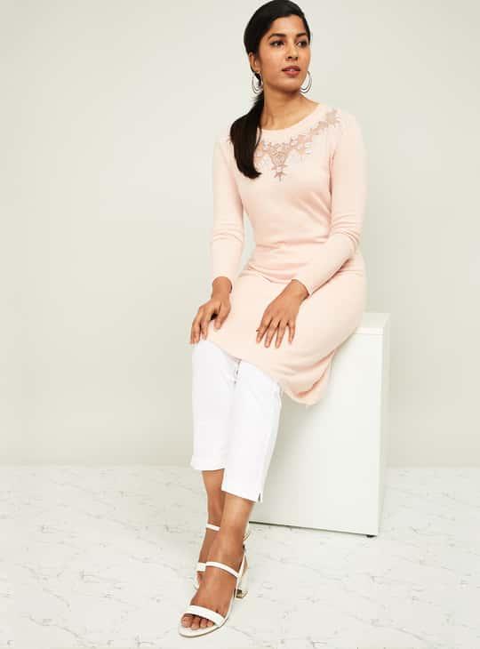 MELANGE Women Embellished Straight Kurta with Sheer Panel