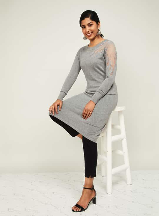 MELANGE Women Embellished Straight Lurta with Cutout