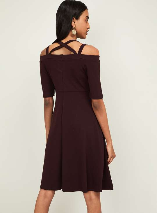 CODE Women Cold-Shoulder Fit and Flare Dress