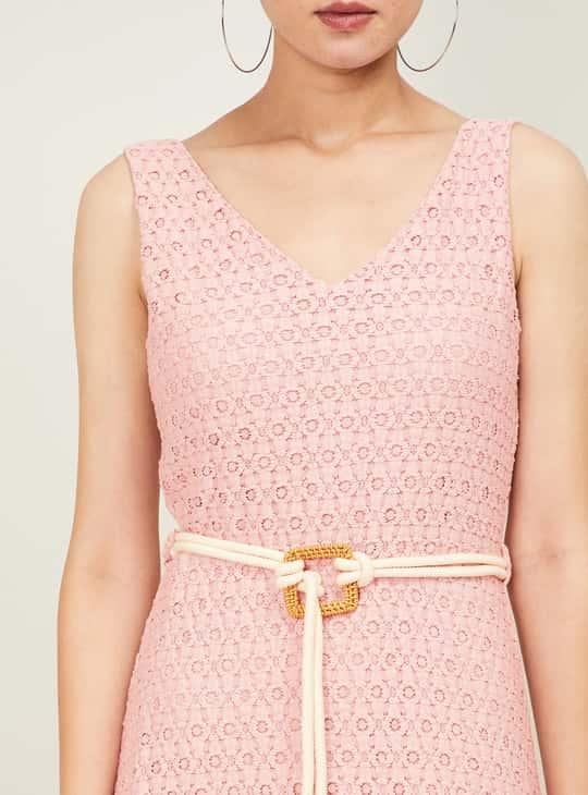 CODE Women Floral Lace V-neck Maxi Dress