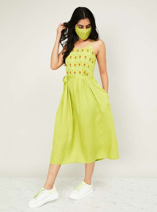 MELANGE Women Floral Embroidered Midi Dress with Striped Mask