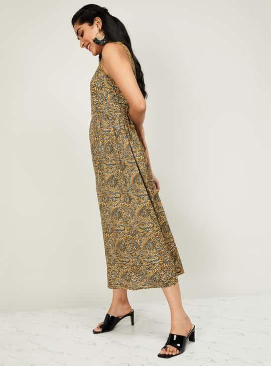 MELANGE Women Printed Sleeveless Midi Dress