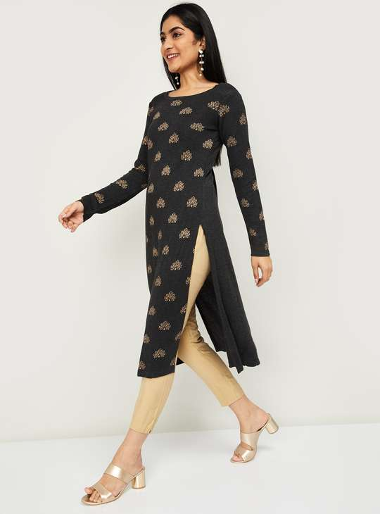 MELANGE Women Patterned Knit Straight Kurta