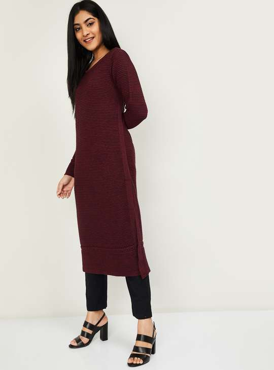 MELANGE Women Textured Long Sleeves Straight Kurta