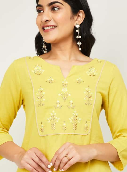 MELANGE Women Embroidered Three-quarter Sleeves Kurta