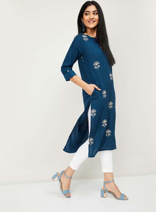 MELANGE Embroidered Three-quarter Sleeves Straight Kurta
