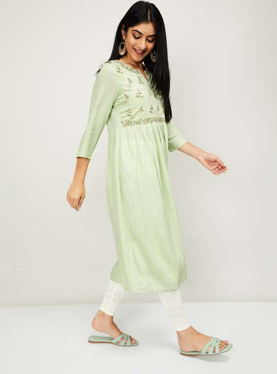 MELANGE Women Embroidered Three-Quarter Sleeves A-Line Kurta
