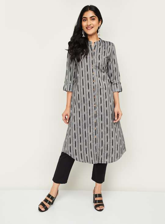 MELANGE Women Printed Straight Kurta with Button Placket