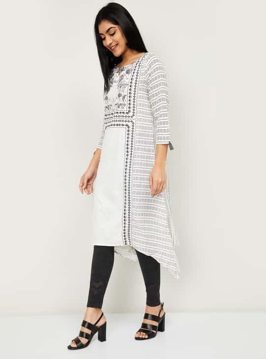 MELANGE Women Printed Three-quarter Sleeves Asymmetrical Kurta