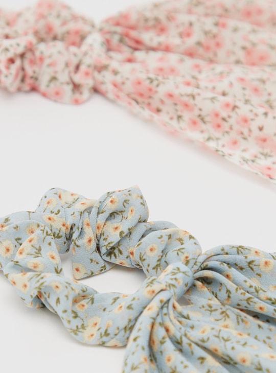 ربطة شعر بفيونكة وطبعات- طقم من قطعتين