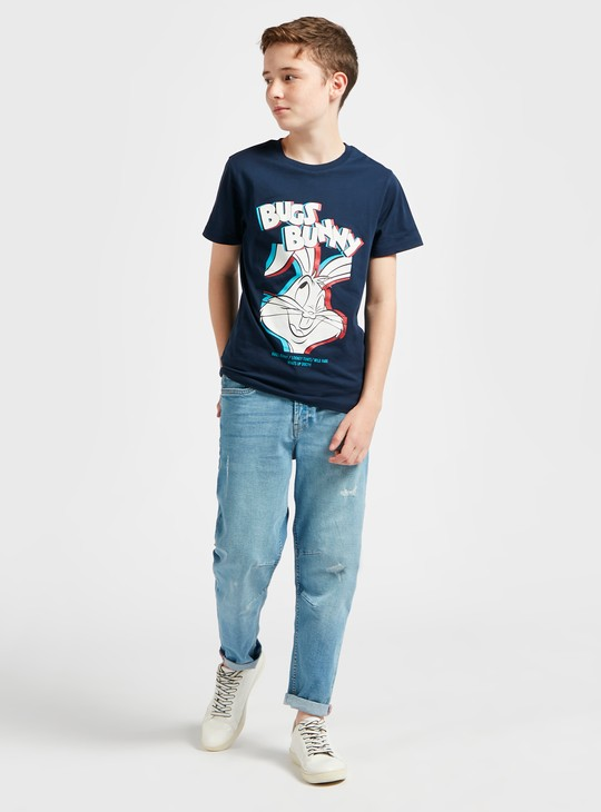 Bugs Bunny Print Round Neck T-shirt with Short Sleeves